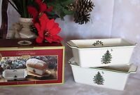 2x Spode Christmas Tree Loaf Pan Bread Baker Porcelain Casserole Oven Dish