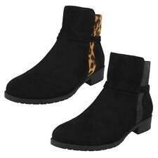 Spot On Ladies Black Synthetic Toggle Fastened Ruched Wellington//Snow Boots