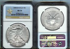 2008-W  burnished  SILVER EAGLE - NGC MS70 - buy it now - WEST POINT LABEL