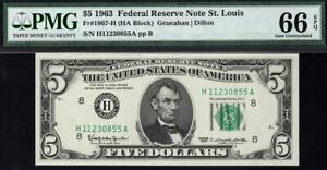 1963 $5 St. Louis Federal Reserve Note FRN • Fr. 1967-H • PMG 66 EPQ