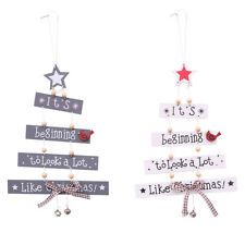 Christmas Tree Wooden Hanging Bell Pendant Store Door Ornament Home Xmas Decor