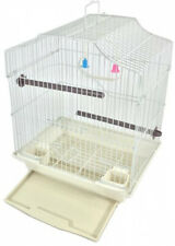 Hanging Bird Cage Kit Set Perches Swing Feeders Scalloped Starter Small Birds