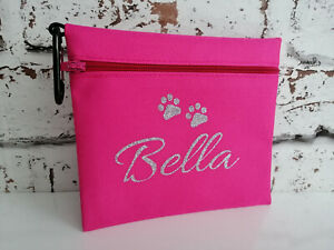 dog treat bag personalised with any name & text dogs treining bag treats paws