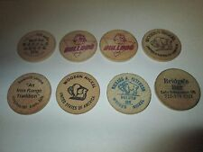 Lot of 8 Vintage Wooden Nickels UMD Athletics VFW Waffle House Sawmill Saloon