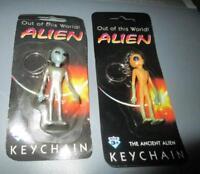 RARE SET of 2 1997 SHADOWBOX GREY ALIEN KEYCHAIN FIGURE toy mip key ring