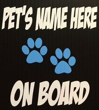 Pet On Board Paw Prints Vinyl Decal Window Sticker Dog Cat Choose Colors! Car