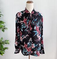 NEW Serra Women's Size 12 Long Sleeve Top Blouse Black Floral Pattern