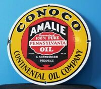 VINTAGE CONOCO GASOLINE PORCELAIN AMALIE GAS OIL SERVICE STATION PUMP SIGN