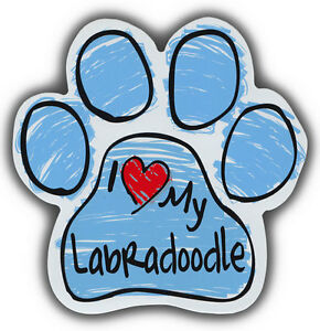 Scribble Paw Dog Magnets: I LOVE MY LABRADOODLE   Cars, Trucks, Refrigerators