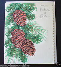 #F628- Vintage Unused Xmas Greeting Card Pretty Pine Tree Branch & Gold Glitter
