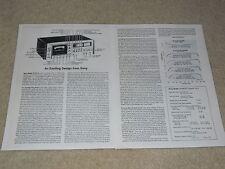 Sony TC-K7-II Audiophile Cassette Deck Review, 2 pgs, 1978, Full Test, Specs