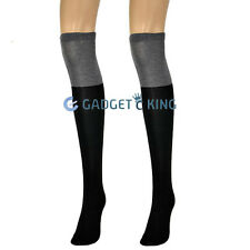 2 Tone Color Over the Knee High Fashion Long Socks Ladies Black Grey