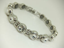 Womens Silver Colour Magnetic Bracelet With Round Gem Stones Gift Arthritis