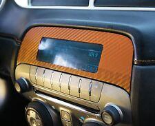 2010-2015 Camaro Orange Carbon Fiber Radio Overlay Decal Sticker - Chevy Wrap