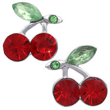 Red Cherry Fruit Charm Stud Post Earrings Women Jewelry Gift For Girls e3002r