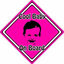 Cool Baby/Child On Board Car Sign ~ Baby Face Silhouette ~ Neon Pink