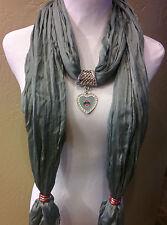 Ohio State Buckeye licensed rhinestone pendant on a Gray Shimmer scarf!