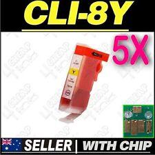 5x Yellow Ink for Canon CLI-8Y iP5200 iP5200R iP5300 iP6600D iP6700D PRO9000