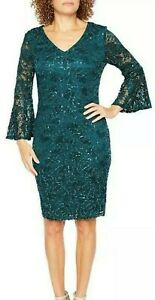 Stunning Ronni Nicole Teal/Jade Lace Sequin Evening Occasion Dress Size UK 12