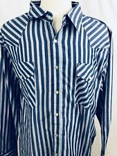 High Noon Mens Shirt XL Long Sleeve Western Pearl Snap Blue White 1D