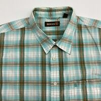 GH Bass Co Button Up Shirt Men's Size 2XL XXL Short Sleeve Green Tan Plaid