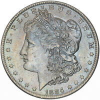 1884-O MORGAN SILVER DOLLAR SUBTLE UNC CHOICE HIGH GRADE LIGHT BLUE COLOR TONED