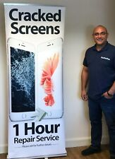 Phone Repair Pull Up Banner Stand - Apple Cracked Screens 1 Hour Repair Service