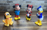 DISNEY SOFT PLASTIC LOT FIVE FIGURES DONALD DUCK MICKEY MINNIE PLUTO GOOFY 6""