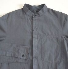 NWOT SILENT DAMIR DOMA Steel Gray-Blue Cotton Band Collar Long-Sleeve Shirt XS
