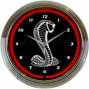 Neon Clock - Ford SVT / Shelby Cobra Mustang Logo * Red Neon * Ships FREE to USA