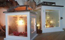 Holz Laterne B-Ware Ornament Glas Metall Edelstahl 20x20cm Windlicht weiß