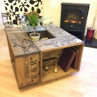 Rustic Crate Coffee Table, Medium Oak made from Pine. These are made to order!