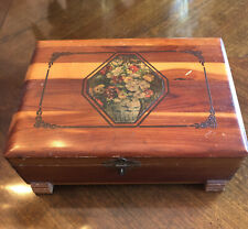Vintage Floral Motif Wood Hinged Box Footed Dovetail Latch Closure Handles