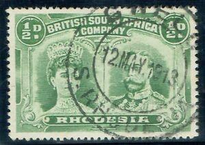 1910 Rhodesia Double Head 1/2d Perf 15 Fine GWELO CDS Very Fine Used