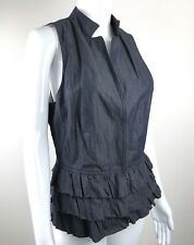 Banana Republic Womens 8 Ruffled Chambray Denim Sleeveless Vest Italian Fabric