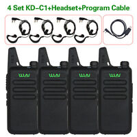 4 Pack Set WLN KD-C1 UHF 400-470 MHz MINI Two Way Radio+Program Cable 2-Way T64