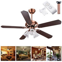 "48"" 5 Blades Ceiling Fan with Light Kit Downrod Copper Reversible Remote Control"