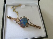 Vintage 9ct Pink Gold and Opal Brooch Very Pretty