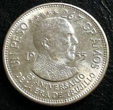 1955 DOMINICAN REPUBLIC SILVER TRUJILLO ONE PESO 25th ANNIVERSARY