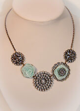 Happy Flowers Statement Necklace - Sea Green