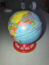 """Vintage Ohio Art World Tin 4"""" Globe Coin Bank As You Save So You Prosper —-1960s"""