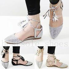 LADIES WOMENS DIAMANTE ANKLE STRAP SANDALS FLAT SUMMER DRESSY BEACH SHOES SIZE