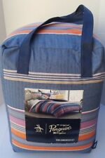 New PENGUIN Munsingwear KING Comforter Sham Stripe Bedding SET 100 cotton in BAG