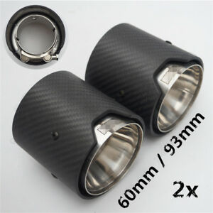 """2x Compact Matt Carbon Fiber Car Exhaust Pipe Muffler Tip 2.24"""" Inlet Universal"""