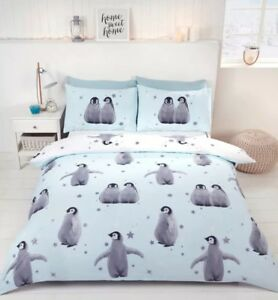 Rapport Starry Penguin Christmas Duvet Set Single, Blue. CHEAPEST ON EBAY