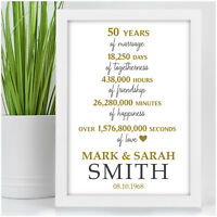Personalised Golden 50th Wedding Anniversary Gifts 50 Years of Marriage Presents