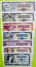 YUGOSLAVIA 5 10 20 50 100 500 1000 Dinaris GREAT SET Of UNCIRCULATED BANKNOTES