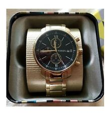 FOSSIL LIGHT GOLD S/STEEL+BLACK DIAL+CHRONOGRAPH ROMAN NUMBERS  WATCH BQ1702