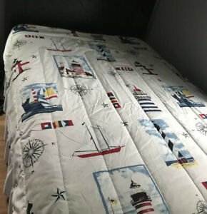 Nautical Comforter Lighthouses Sailboats Compass Twin White Blue Red Preowned