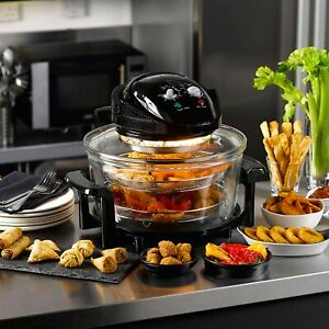 Daewoo Deluxe 17L 300W Halogen Low Fat Air Fryer Extension Ring 6 Accessories